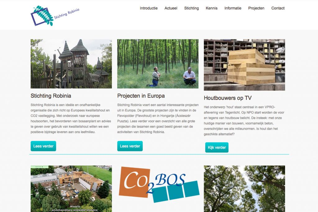 screenshot website stichting robinia